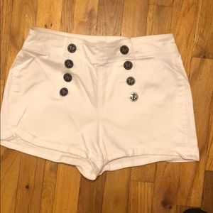 High waisted jean shorts.